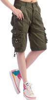 Chouyatou Women's Casual Loose Fit Multi-Pockets Twill Bermuda Cargo Shorts