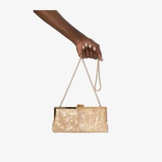 Black & Brown gold tone Laura crystal clutch bag