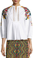 Valentino Floral-Embroidered Cotton Blouse, White