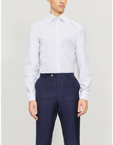 Eton Checked contemporary-fit cotton and linen-blend shirt