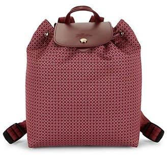 Longchamp Dandy Leather-Trim Printed Backpack
