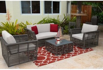 Panama Jack 4 Piece Rattan Sunbrella Sofa Set with Cushion Outdoor Cushion Color: Air Blue