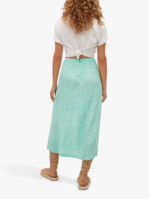 MANGO Floral Print Midi Skirt, Turquoise
