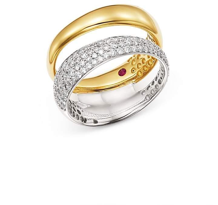 Roberto Coin 18K White & Yellow Gold Scalare Pavé Diamond Double Ring