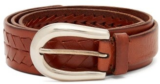 Brunello Cucinelli Woven-leather Belt - Brown