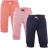 Hudson Baby Orange & Navy Pin Dots Joggers Set - Infant