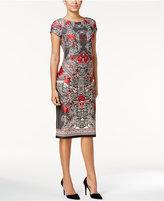 ECI Printed Scuba Sheath Dress