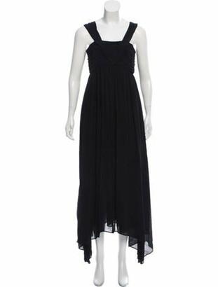 ADEAM Plisse Sleeveless Gown Navy
