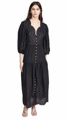 Keepsake Women's Long Sleeve Without Me Scalloped V-Neck Midi Dress