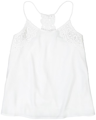 La Redoute Collections Draping Sleeveless Top with Guipure Lace, 10-16 Years