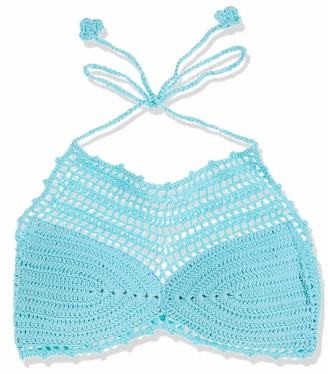 Bikini Lab Junior's Take It Or Weave It Crochet High Neck Cropped Bikini Top