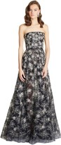 Oscar de la Renta Sequin Embroidered Chantilly Lace Gown