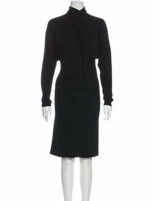 Ganni Turtleneck Knee-Length Dress Black