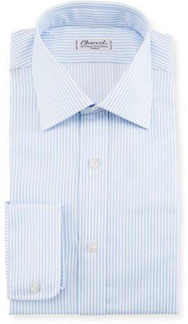Charvet Striped Dress Shirt, White/Blue