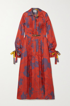 Evi Grintela Elegance Belted Pleated Floral-print Silk-twill Midi Shirt Dress - Red