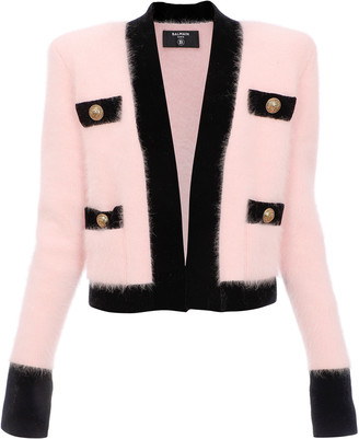 Balmain Velvet-Trimmed Angora-Blend Sweater
