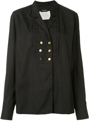 Chanel Pre Owned Pleated Detail Double-Breasted Shirt
