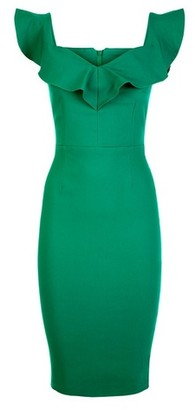 Dorothy Perkins Womens Vesper Green Frill Bodycon Pencil Dress, Green