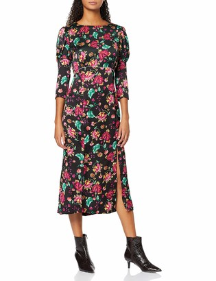 Liquorish Women's Black Floral Midi Slip Dress with Rushed 3/4 Length Sleeves and Two Slit in The Front
