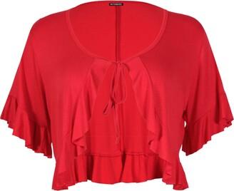 Purple Hanger Womens Short Sleeve Ladies Stretch Frill Front Neck Tie Cropped Plain Cardigan Bolero Shrug Top Plus Size