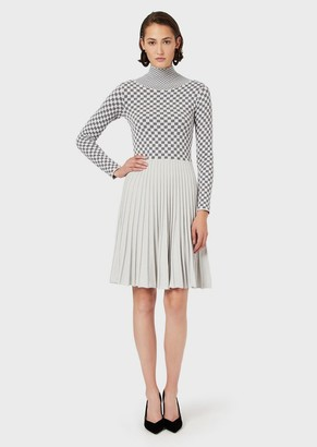 Emporio Armani Two-Toned Jacquard Dress With Checked Motif