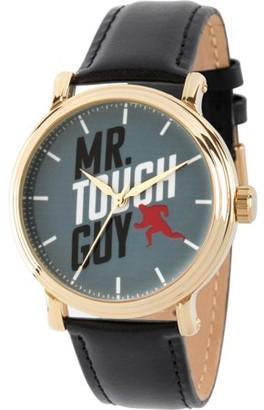 Disney Incredibles Men's Gold Vintage Alloy Watch, Black Leather Strap