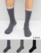 Asos Towelling Socks With Stripe Detail 3 Pack