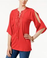 MICHAEL Michael Kors Split-Sleeve Grommeted Top, a Macy's Exclusive Style