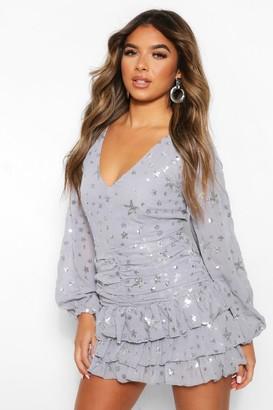 boohoo Petite Woven Glitter Star Print Mini Dress
