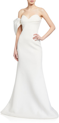 Badgley Mischka Asymmetric Bow Strapless Scuba Gown