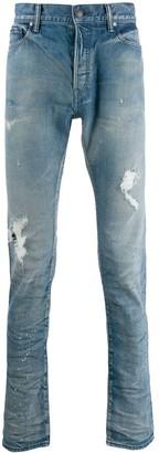 John Elliott Distressed Slim Fit Jeans