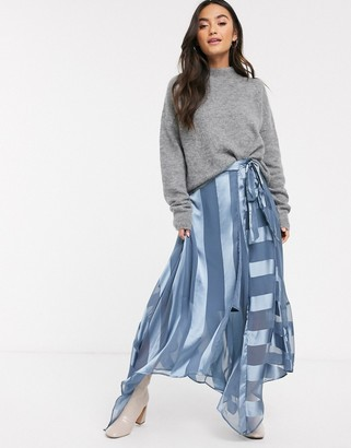 Asos DESIGN satin stripe wrap midi skirt with tie waist