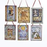 """Kurt Adler 4"""" Wooden Traditional Christmas Plaque Ornament 6/asstd"""
