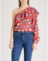 The Kooples One-shoulder floral-print crepe top