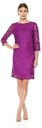 Lark & Ro Amazon Brand Women's Three Quarter Sleeve Stretch Lace Shift Dress