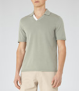 Reiss Reiss Capa - Open Collar Polo Shirt In Blue