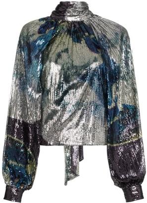 Ganni Sequin-Embellished Blouse