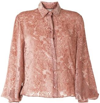 Alexis Kylie velvet-flocked paisley-print shirt
