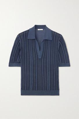 Chloé Cable-knit Silk Polo Shirt - Blue