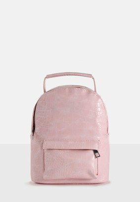Missguided Pink Faux Leather Croc Mini Backpack