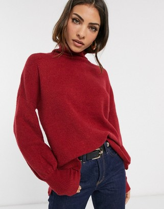 French Connection Orla Flossy balloon sleeve high neck jumper in wool blend