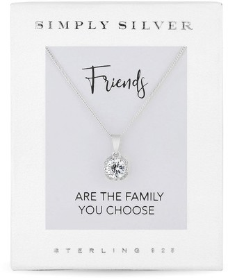Simply Silver Cubic Zirconia Solitaire Flower Pendant in Gift Box