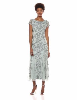 Pisarro Nights Women's Cap Sleeve Boat Neck Dress with Diamond Motif