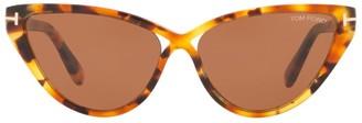 Tom Ford Tortoiseshell Charlie Cat Eye Sunglasses
