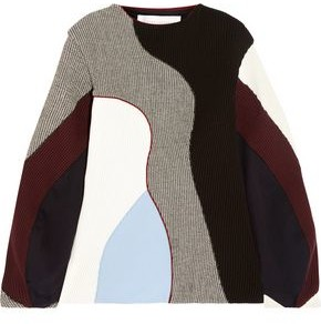 Victoria Beckham Paneled Ribbed-knit, Houndstooth Wool And Sateen Sweater