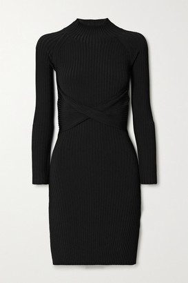 Dion Lee Cutout Twist-front Ribbed-knit Mini Dress - Black