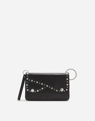 Dolce & Gabbana Biker Bag In Cowhide With Embroidered Studs
