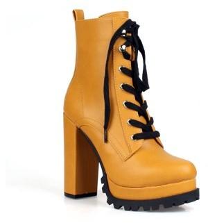 Ochotoros Chunky Heel Women's Lace Up Boots in Tan