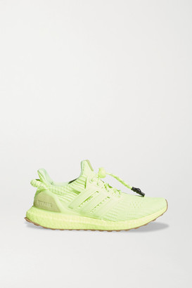 adidas + Ivy Park Ultraboost Neon Rubber And Suede-trimmed Primeknit Sneakers - Yellow