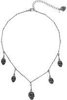 Betsey Johnson Black Skull Spray Frontal Necklace